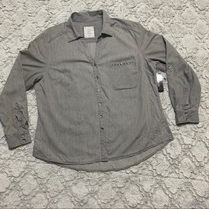 Style & Co gray button down shirt studded pocket